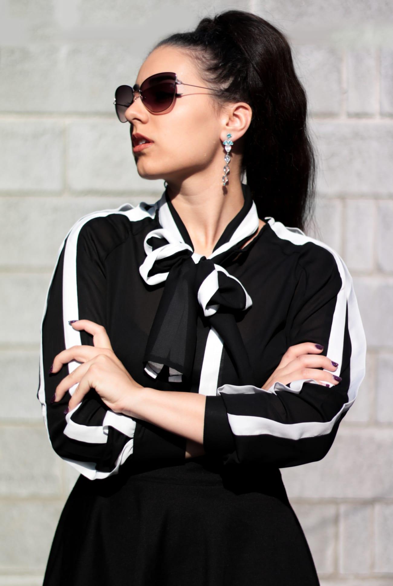 black white shirt camasa alb negru fontita bufanta ieftina online fashion blog outfit camasa eleganta roxi rose (2)