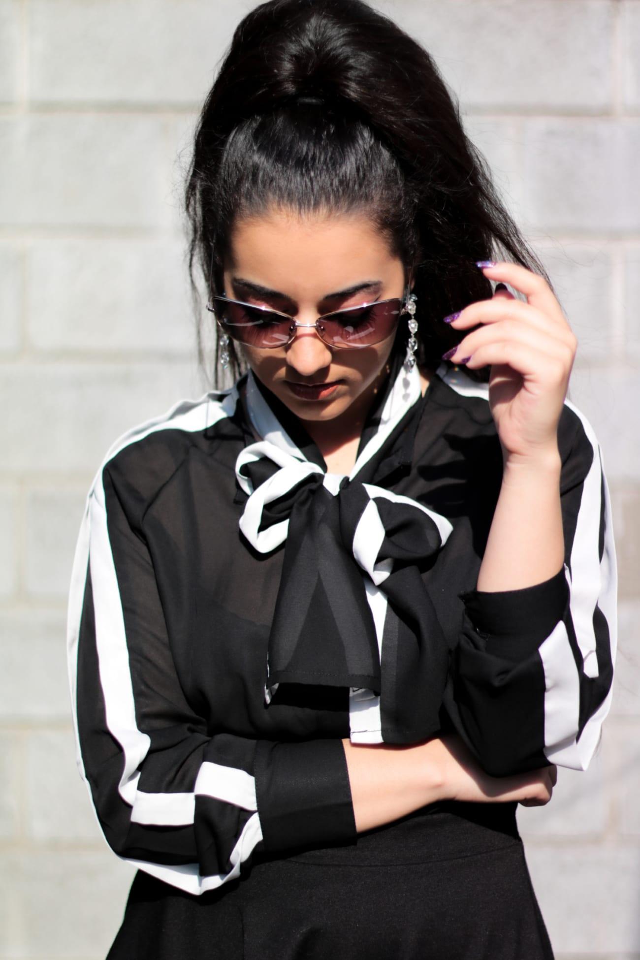 black white shirt camasa alb negru fontita bufanta ieftina online fashion blog outfit camasa eleganta roxi rose (5)