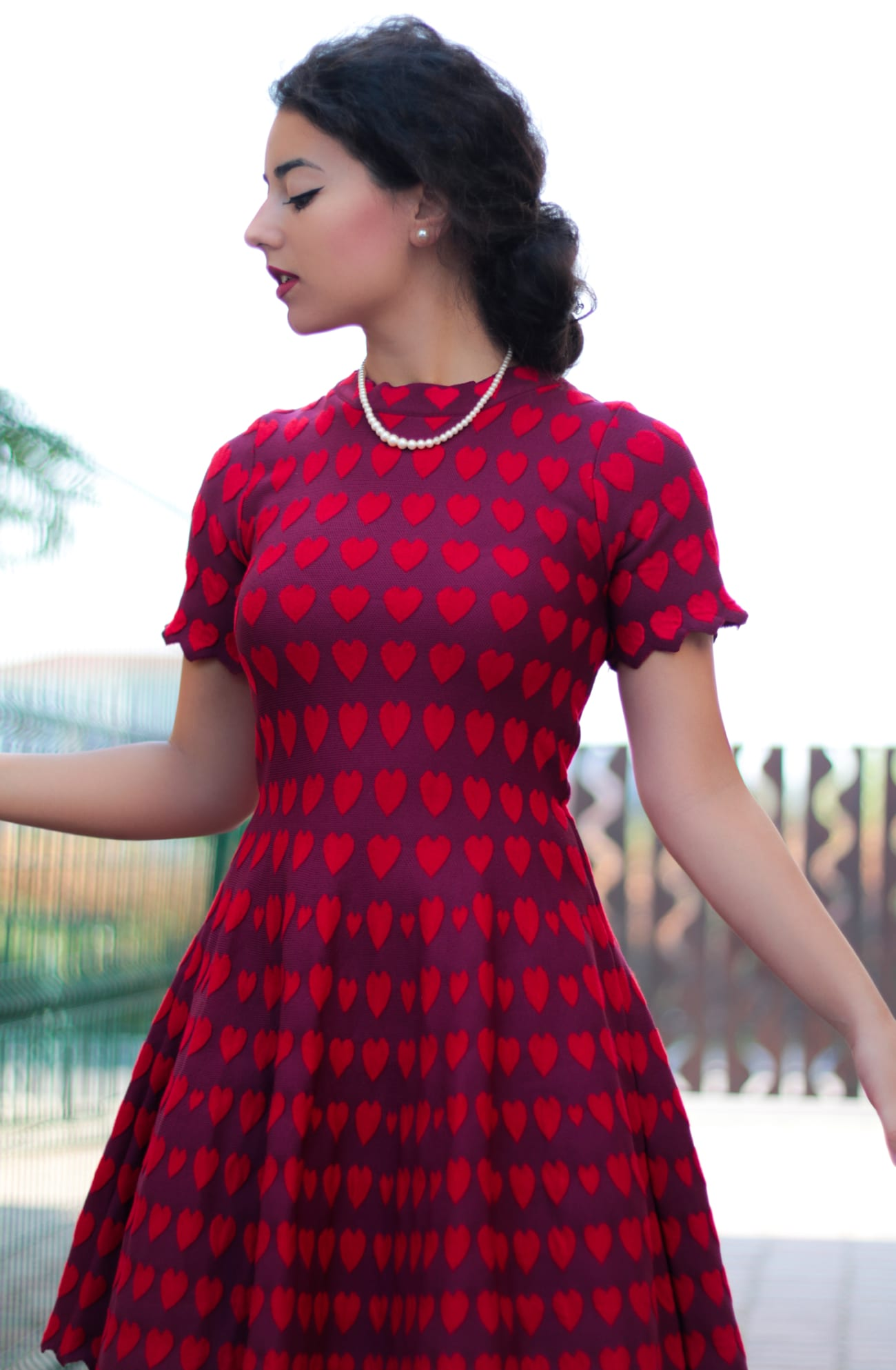 vintage comic book red hearts dress topfashion.com.ro old style pearls roxi rose (1)