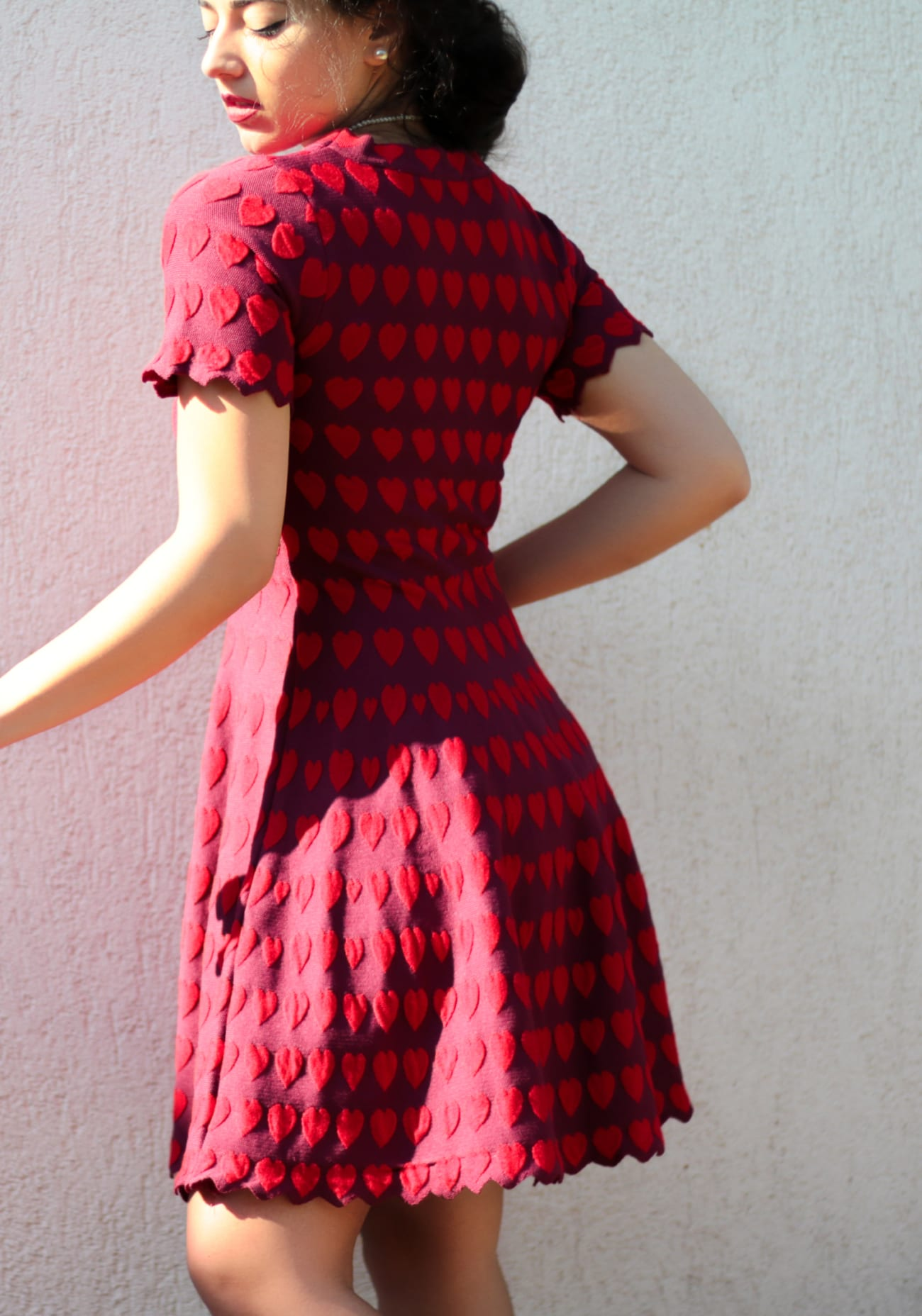 vintage comic book red hearts dress topfashion.com.ro old style pearls roxi rose (10)